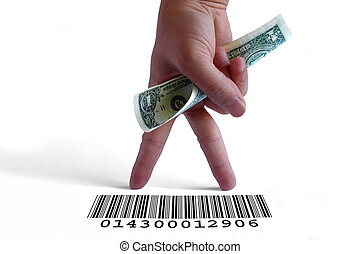 Hand holding a dollar bill on a barcode