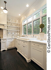 Contemporary kitchen with white cabinetry