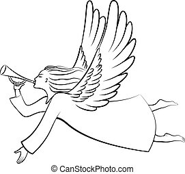 A silhouette of a contour Christmas Angel Blowing a trumpet