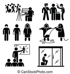 A set of human pictogram representing how authority and government control outbreak and diseases spreading from one country to another.