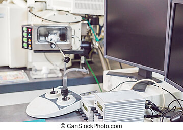 control panel of a Scanning scanning electron microscope