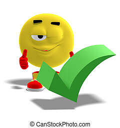3D rendering of a cool and funny emoticon who yes to a checkmark with clipping path and shadow over white