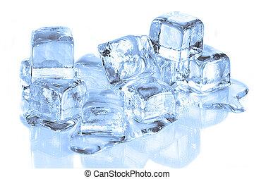 Ice Cubes Melting on a Reflective Surface White Background