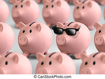 Cool piggy bank with glasses, finance concept