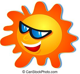 The sun wearing sunglasses and looking cool.