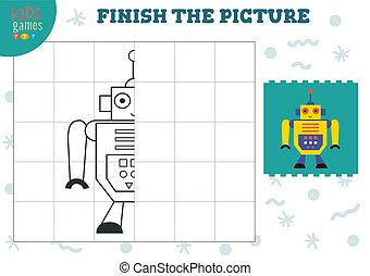 Copy and complete the picture vector blank game, illustration. Preschool kids activity or exercise for learning and education with cartoon vintage robot