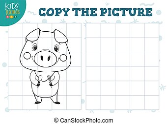 Copy picture by grid vector illustration. Educational mini game, puzzle for preschool kids. Cartoon outline little hungry pig for drawing exercise