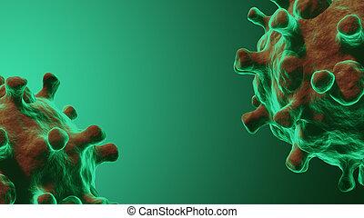 Coronavirus or COVID-19 infection concept. Viral disease epidemic, 3D illustration