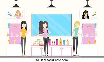 Cosmetic store interior.