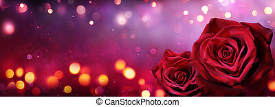 Couple Red Roses In Heart Shape With Lights