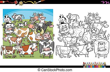 cow characters coloring book