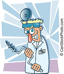 Humorous cartoon illustration of crazy dentist