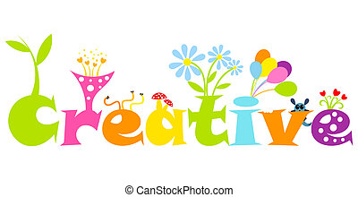 Creative abstract concept - colorful living letters. Vector illustration