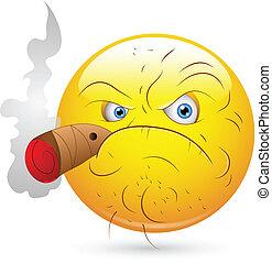 Creative Abstract Conceptual Design Art of Smoking Man Smiley Face