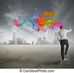 Concept of creative business with businessman draws