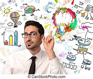 Businessman with new creative business idea