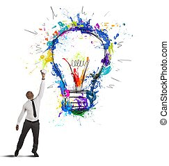 Concept of creative business idea with drawing businessman