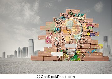 Concept of sketch of creative business idea