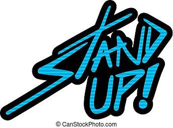 blue stand up symbol