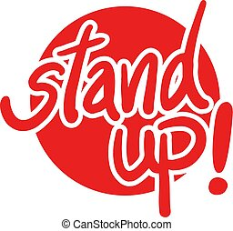red stand up message