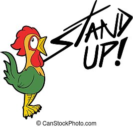 rooster and stand up message