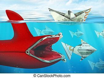 Creative finance concept, purse catches money under water