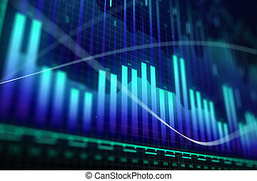 Market growth, finance and money concept
