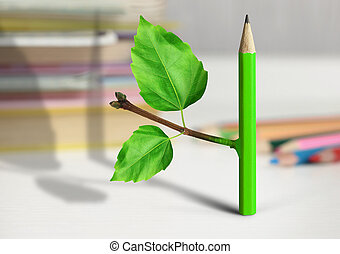 creative idea concept, pencil with branch and leaves on table