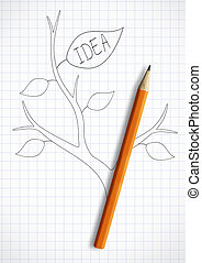 creative idea concept, pencil with leaves as stem