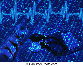 creative medical theme paint with cardiogram and tool in blue