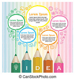 creative template infographic with colorful pencils drawing lines over hand drawn background