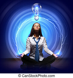 Creativity in business cocept with light bulb. Illustration