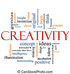 Creativity Word Cloud Concept with great terms such as design, happy, innovation, fun, incubaton, ideas and more.