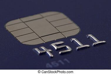 Closeup view of a credit card chip