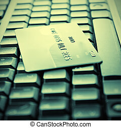 Credit cards on the keyboard