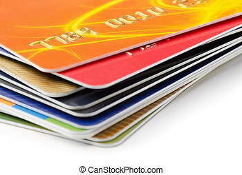 Stack of credit cards on white background