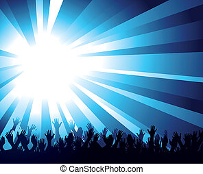 Illustration of a burst of bright blue light over a crowd of waving Hands