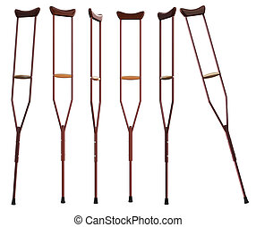 Crutches on white background. Isolated 3D rendering