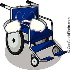 Crying cartoon wheelchair in a hospital room