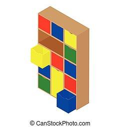 Cube modular storage furniture. Isometric view.