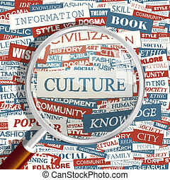 CULTURE. Concept related words in tag cloud. Conceptual info-text graphic. Word collage.