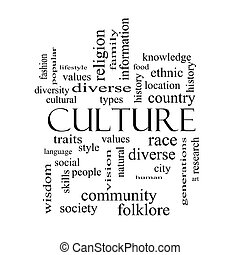 Culture Word Cloud Concept in black and white on a Blackboard with great terms such as values, diversity, language and more.