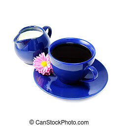 Cup of coffee and milk jug still life isolated on white background with the rosy flower of aster