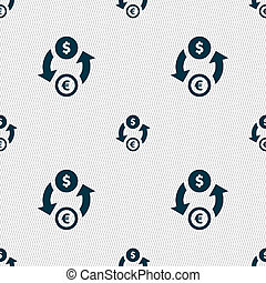Currency exchange icon sign. Seamless pattern with geometric texture.