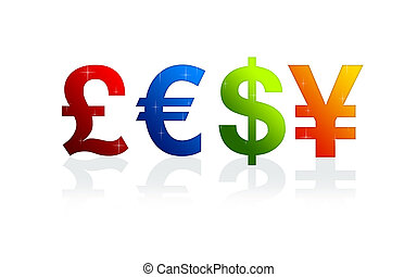 High resolution currency signs of dollar, pound, yen and euro