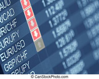 currency trading ,closeup and shallow DOF, for forex, stock market and other finance themes