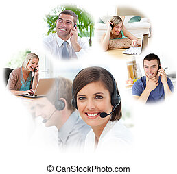 Customer service agents with headset on in a call center