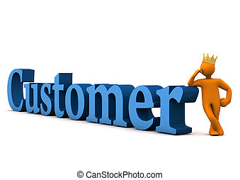 """Orange cartoon character with golden crown and blue text """"customer""""."""
