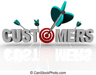 The word Customers with a target in place of the letter O and an arrow making a direct hit