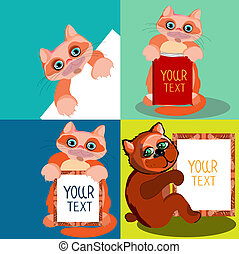 Cute animals, drawn in a cartoon style. Set of the four-vector illustrations with space for text.